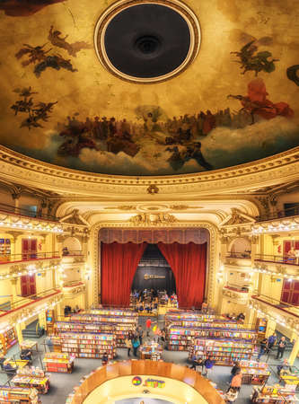 Buenos Aires, Argentina - August 29, 2019:  El Ateneo Grand Splendid is a bookshop in Buenos Aires that was named the