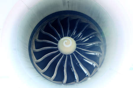 Jet engine of a parked Boeing 787 aircraft, Close Up 免版税图像