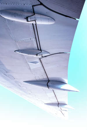 Wing of the aircraft , view from under the main wing