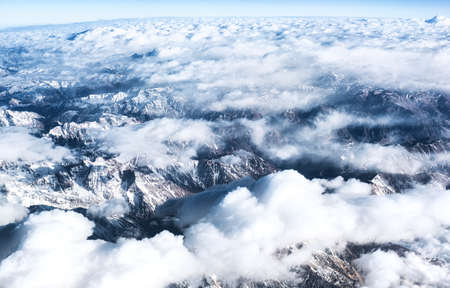 Andes Mountains (Cordillera de los Andes) viewed from an airplane window, near Santiago, Chile. Reklamní fotografie