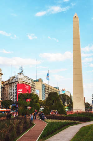 Buenos Aires, Argentina - August 29, 2019: The Obelisk (El Obelisco), the most recognized landmark in the capital in Buenos Aires, Argentina. 에디토리얼