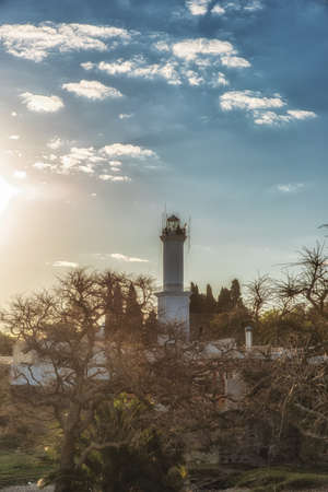 Lighthouse in Colonia del Sacramento, Uruguay, at sunset Stock Photo