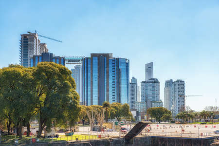 Buenos Aires, Argentina - 31 August 2019:   Puerto Madero neighborhood. This neighborhood hosts the newest and most luxurious buildings in the city and it doesnt stop developing