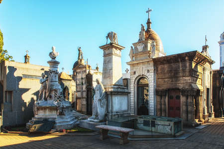 La Recoleta Cemetery is a famous cemetery in the Recoleta neighborhood of Buenos Aires and is famous for being the burial sites of Eva Peron, Argentinian presidents, and other notables. Stock fotó