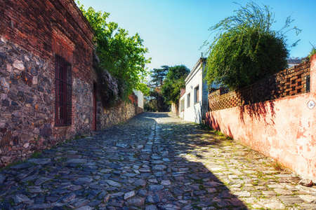 Streets of the old town of Colonia Del Sacramento, Uruguay Stok Fotoğraf