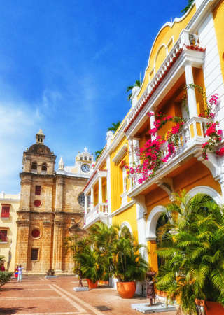 Traditional historic architecture of colonial times at small city square, Cartagena, Colombia