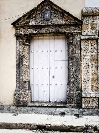 Beautiful Old Colonial Door at the Getsemani area, Cartagena, Colombia