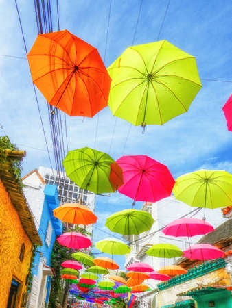 The Street of Umbrellas Getsemani Cartagena Colombia, South America