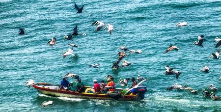 Fishing craftsmen at sea in Cartagena. Stockfoto