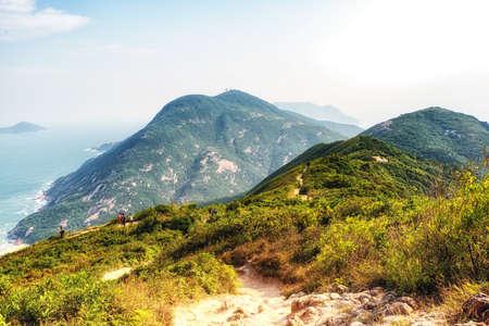 Dragon 's Back mountain trail, best urban hiking trail in Hong Kong. Stock fotó