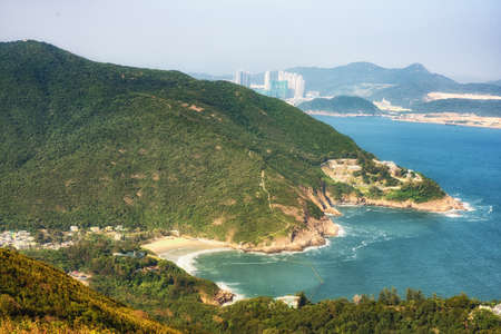 Dragon 's Back mountain trail, best urban hiking trail in Hong Kong. Stock fotó