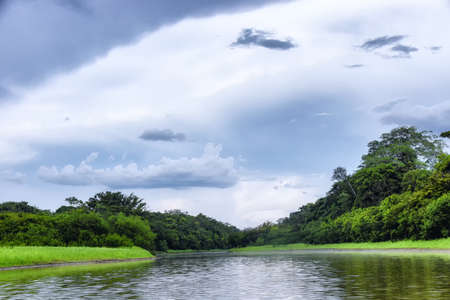 the Amazon River in the late afternoon near Leticia, Colombia Banque d'images