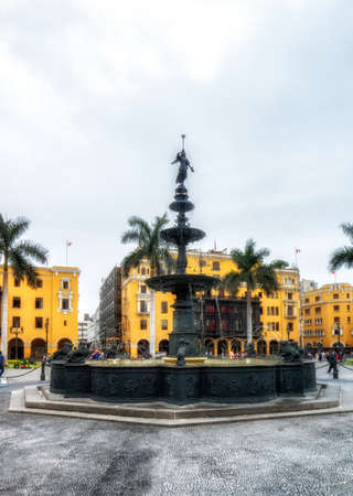 historic Lima city fountain, located at Main Square in the center of old town.