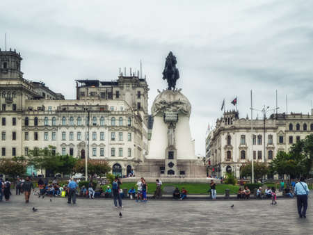 Lima, Peru - 28 january 2020: The Plaza San Martín is one of the most representative public spaces of the city, Its central monument gives homage to Peru's liberator, José de San Martín.