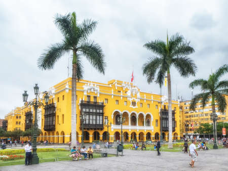Lima, Peru - 28 January 2020: View over the Plaza Mayor or Plaza de Armas in Lima. The Plaza in located in the Historic Centre of Lima and is surrounded by the Government Palace, Cathedral of Lima, Archbishop's Palace of Lima, the Municipal Palace, and th Editorial