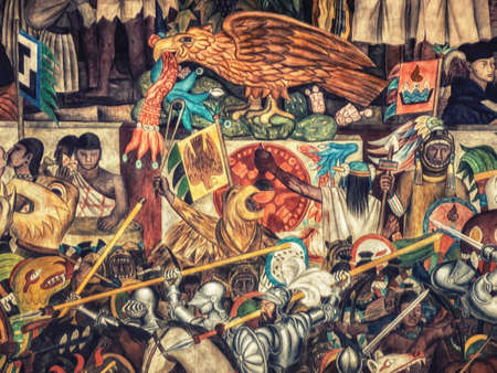 Mexico city, Mexico - 12 October 2019: A close up view of the mural painting by Diego Rivera depicting Mexico´s history in National Palace Mexico City Mexico.
