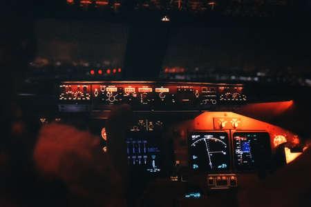 Jet cockpit and runway lights during a night landing. Reklamní fotografie