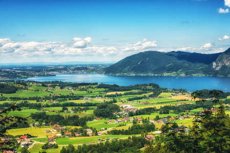 Alps mountain Traunsee lake view, Ebensee, Upper Austria.