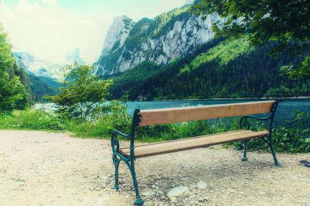 Beautiful view of idyllic green summer scenery with Dachstein mountain summit by Gosausee mountain lake in summerSalzkammergut region Upper Austria