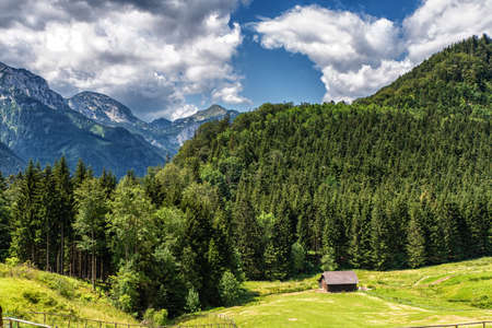 Idyllic and beautiful landscape in Salzkammergut, Austria 新聞圖片