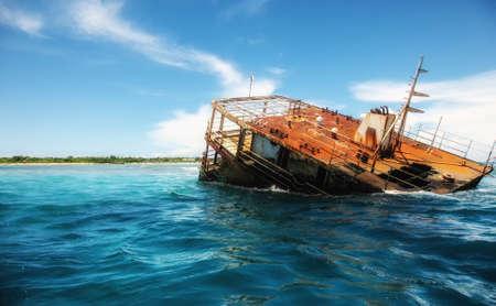 Remnants of a sunken boat at the Fijian coast