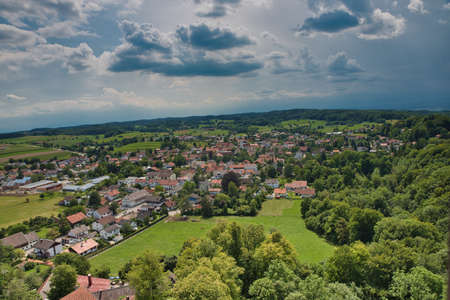 View of the village Machtlfing, Andechs, Upper Bavaria, Bavaria, Germany, Europe