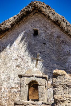 Las Vicunas National Reserve. Aymara Church of Guallatiri Stock Photo