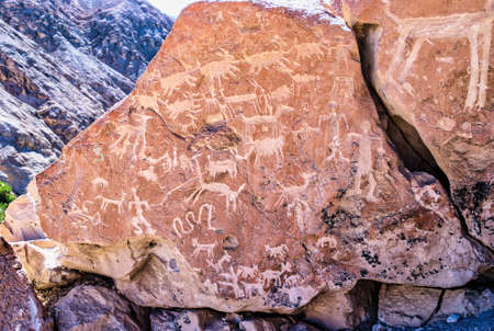 Petroglyphs of the archaeological site of Yerbas Buenas, Rio Grande, San Pedro de Atacama, Antofagasta Region, Chile