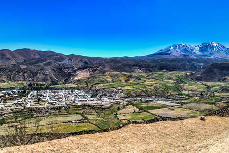 Panoramic view of the city of Putre, capital of the province of Parinacota, in the region of Arica and Parinacota, northern Chile