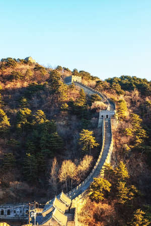 Fort or tower on the Great Wall of China at Mutianyu Stock Photo