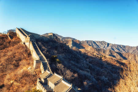 The restored section of the Great Wall of China at Mutianyu, near Beijing, taken in late winter conditions.