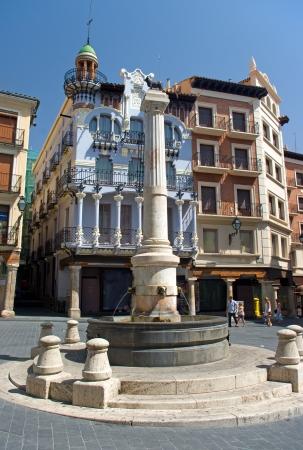 mudejar: Torico square Teruel Spain Stock Photo