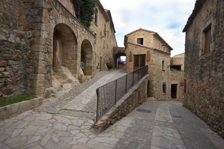 pals: a street in the medieval village of Pals,Catalonia Spain