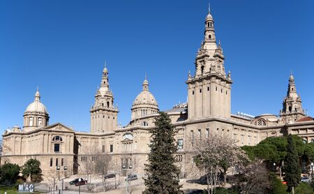 View of the National Palace in Montjuic Barcelona Spain