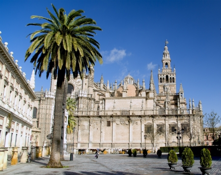mudejar: View of the Giralda,cathedral of Seville Spain Stock Photo
