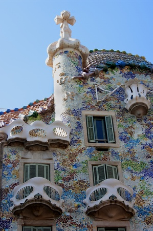 BARCELONA - MARCH 3   The facade of the house Casa Battlo  also called the house of bones  designed by Antoni Gaudi, with his famous expressionistic style on March 3, 2013 Barcelona, Spain