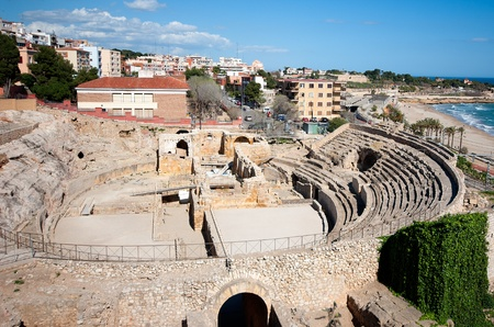 wrestlers: Roman amphitheater of Tarragona Catalonia Spain