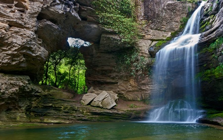 Beautiful waterfall in the Catalan pre-Pyrenees La Foradada Cantonigr�s Spain photo