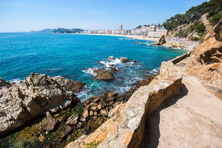 Lloret de Mar seen from the famous and pintoresto path along the coast  Cami de Ronda   Catalonia Spain photo
