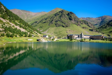 sanctuary: View of Vall de Nuria Sanctuary in the catalan pyrenees.Spain Stock Photo