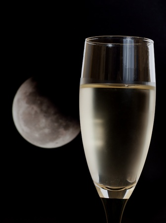white wine and moon photo