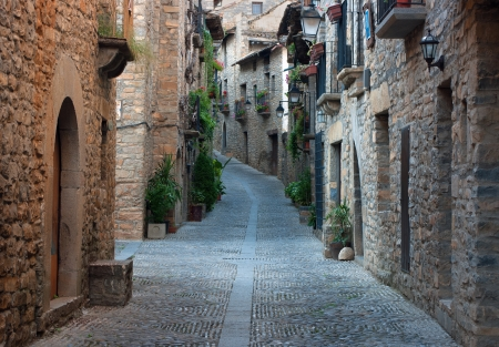 Old street in the medieval village of Ainsa.Aragon.Spain