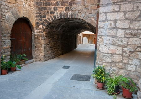 Old street in catalonia.Spain photo