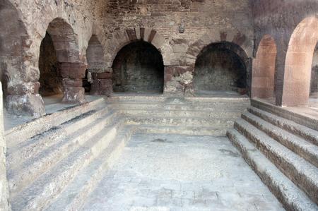 baths: Roman baths in Caldes de Montbui.Barcelona.Catalonia.Spain