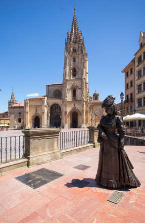 OVIEDO, SPAIN - JULY 29, 2017: Statue of La Regenta in front of the Cathedral of San Salvador in Oviedo, capital of Asturias, Spain