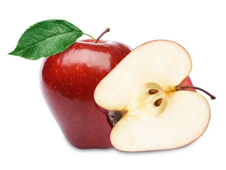 two and a half: Two red apples and half. Isolated on a white background.