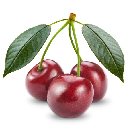 sweet and sour: Ripe cherry isolated on white background Stock Photo