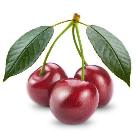 profiting: Ripe cherry isolated on white background Stock Photo