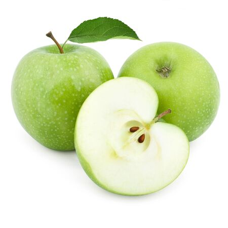 Two green apples and half of apple Isolated on a white\ background