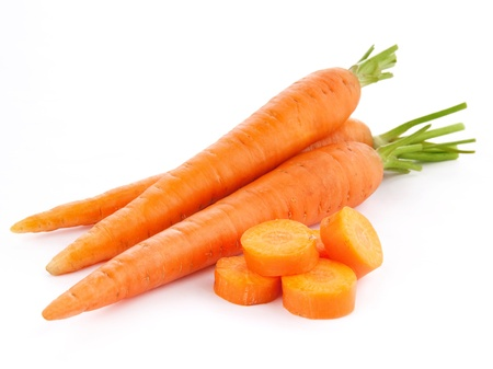 fresh carrots isolated on white background  photo